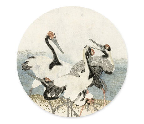 Groovy Magnets Children's magnet sticker Cranes on the water off-white multicolour vinyl with iron particles Ø60 cm
