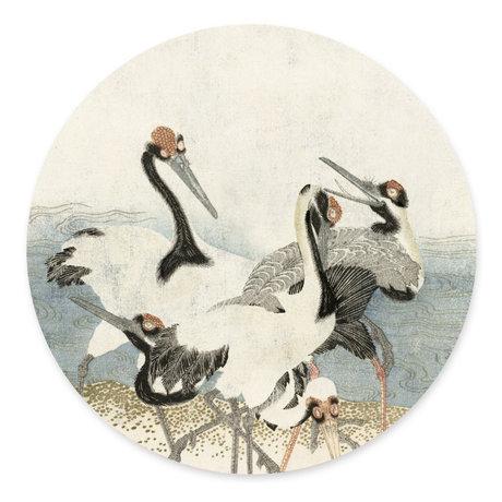 Groovy Magnets Kindermagneetsticker Cranes on the water gebroken wit multicolour vinyl met ijzerdeeltjes Ø60cm