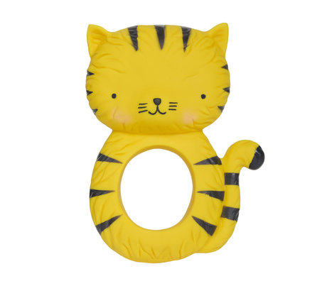 A Little Lovely Company Bijtring Tiger geel natuurlijk rubber 7,5x10,3x3,7cm