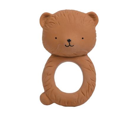 A Little Lovely Company Bijtring Bear bruin natuurlijk rubber 6,3x10x4cm
