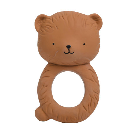 A Little Lovely Company Teether Bear brown natural rubber 6.3x10x4cm