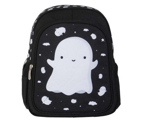 A Little Lovely Company Kinderrugzak Ghost zwart wit polyester 27x32x15cm