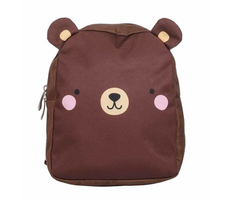 A Little Lovely Company Children's backpack Bear brown polyester 21x26x10cm