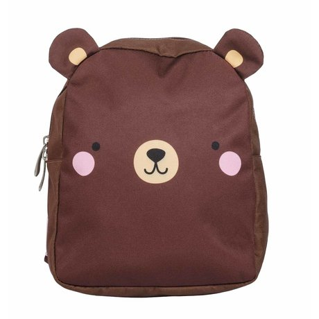 A Little Lovely Company Kinderrugzak Bear bruin polyester 21x26x10cm