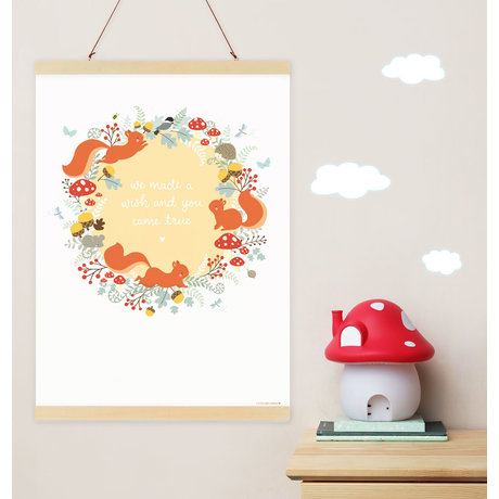 A Little Lovely Company Children's poster Squirrel forest multicolour paper 50x70cm