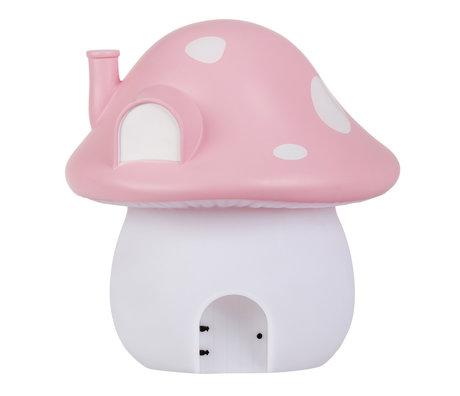 A Little Lovely Company Nachtlampje Mushroom House Fairies roze 17,5x 19x17,5cm