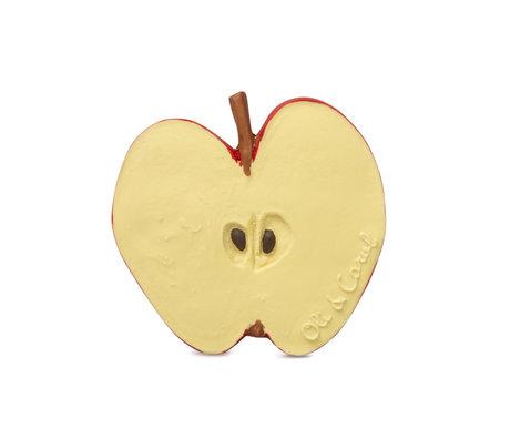 Oli & Carol Bad en bijtspeeltje Pepita de appel geel rood natuurlijk rubber 8x0,6x7,7cm