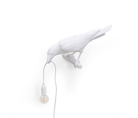 Seletti Wall lamp Bird Looking left white outdoor 32.8x14.5x12.3cm
