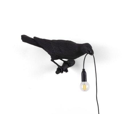 Seletti Kinderwandlamp Bird Looking right zwart outdoor 32,8x14,5x12,3cm