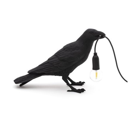 Seletti Kindertafellamp Bird waiting zwart 29,5x12x18,5cm