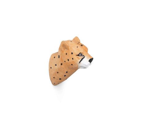 Ferm Living Wandhaak Cheetah handgeschilderd oranje hout 9,5x5x9,5cm