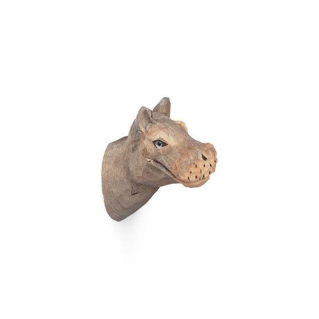 Ferm Living Wandhaak Nijlpaard handgeschilderd warm grijs hout 9,5x5x9,5cm