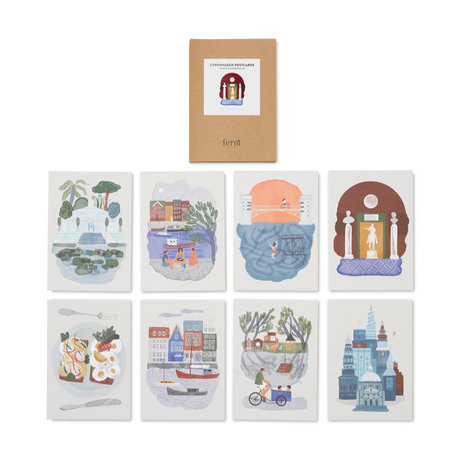 Ferm Living Kinder kaarten Copenhagen set van 8 A5 multcoloured