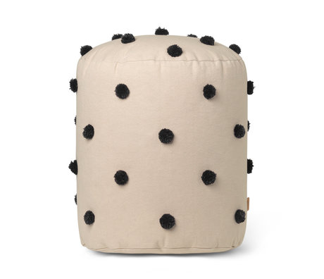 Ferm Living Pouf Dot Tufted sand brown cotton Ø39x48cm