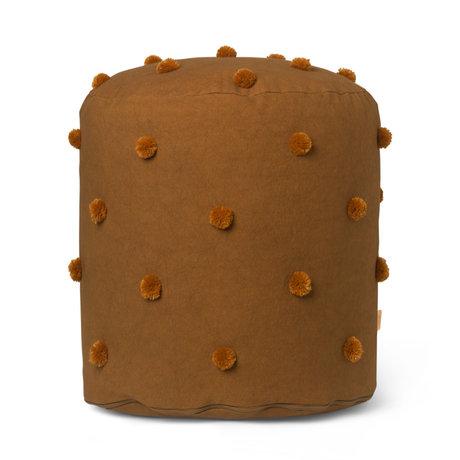 Ferm Living Kinder Poef Dot Tufted mosterdgeel katoen  39x48cm