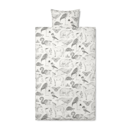 Ferm Living Duvet cover Katie Scott, off-white cotton 140x200cm incl. Pillowcase