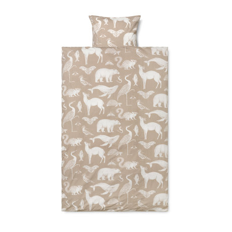Ferm Living Duvet cover Katie Scott sand brown cotton 140x200cm incl. Pillowcase