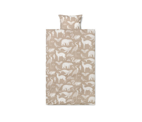 Ferm Living Child duvet cover Katie Scott sand brown cotton 70x100cm incl. Pillowcase