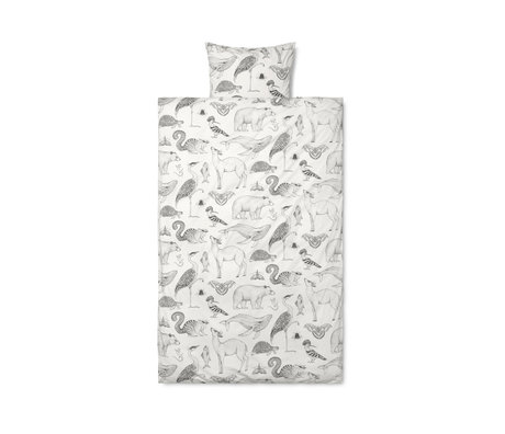 Ferm Living Children's duvet cover Katie Scott, off-white cotton 100x140cm incl. Pillowcase