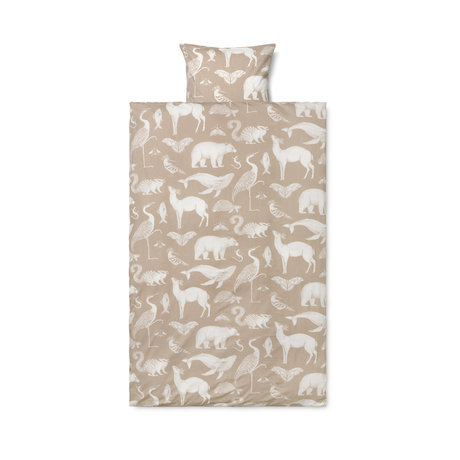 Ferm Living Child duvet cover Katie Scott sand brown cotton 100x140cm incl. Pillowcase