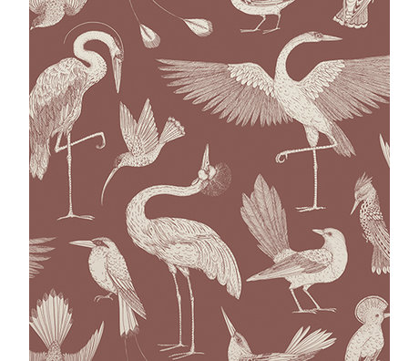 Ferm Living Kids wallpaper Katie Scott birds red 10x0.53m