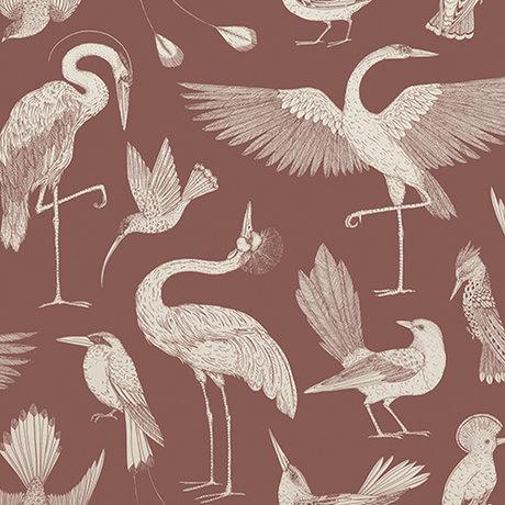 Ferm Living Kinderbehang Katie Scott vogels rood 10x0,53m