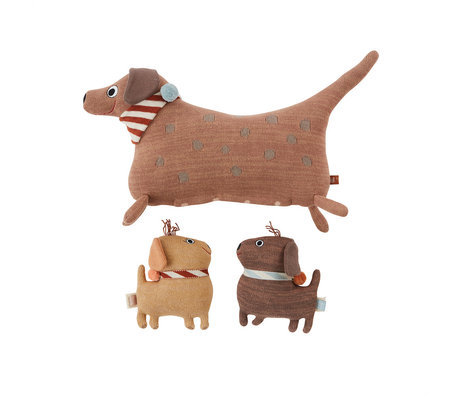 OYOY Knuffel Hunsi Dog Met Pups Coco & Max Multicolor Katoen 35x16x36cm / 14x6x17cm