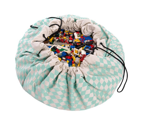 Play & Go Storage bag / playmat Diamond Green green cotton ø140cm