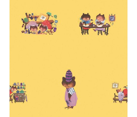 KEK Amsterdam Kinderbehang Fiep Westendorp Busy Bears geel 146,1x280cm