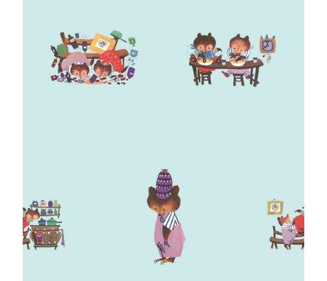 KEK Amsterdam Kinderbehang Fiep Westendorp Busy Bears blauw 146,1x280cm