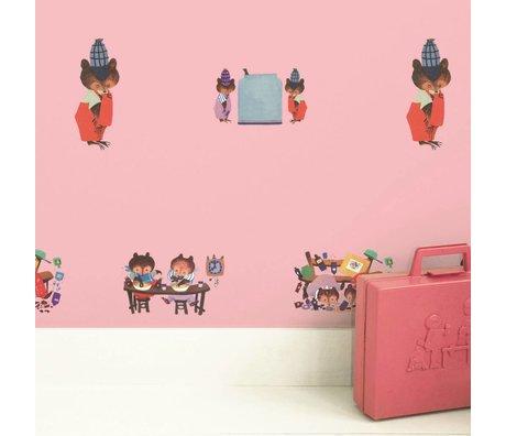 KEK Amsterdam Kinderbehang Fiep Westendorp Busy Bears roze 146,1x280cm