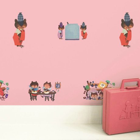 KEK Amsterdam Children's wallpaper Fiep Westendorp Busy Bears pink 146.1x280cm