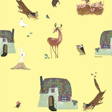 KEK Amsterdam Children's Wallpaper Fiep Westendorp Forest Animals yellow 146,1x280cm