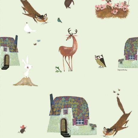 KEK Amsterdam Children's wallpaper Fiep Westendorp Forest Animals green 146.1x280cm
