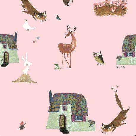 KEK Amsterdam Children's Wallpaper Fiep Westendorp Forest Animals pink 146,1x280cm