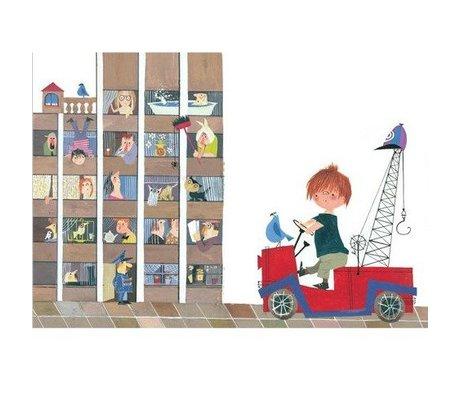 KEK Amsterdam Children's wallpaper Red Truck II multicolour non-woven paper 389.6x280cm