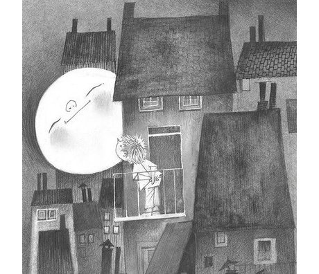 KEK Amsterdam Kinderbehang Moonlight grijs zwart wit vliespapier 194,8x280cm