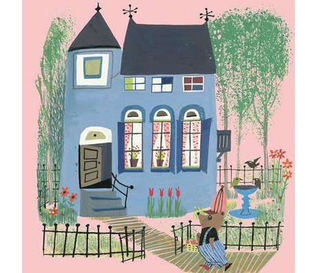 KEK Amsterdam Kids wallpaper Bear with Blue House pink multicolour non-woven paper 243.5x280cm