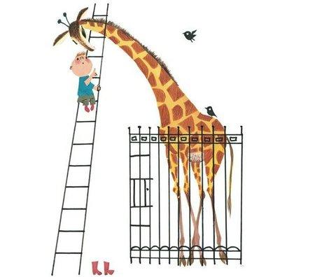 KEK Amsterdam Children's Wallpaper Giant Giraffe multicolored fleece paper 243,5x280cm