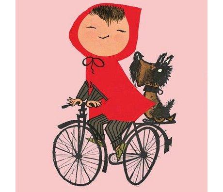 KEK Amsterdam Kids wallpaper Riding my Bike pink multicolour non-woven paper 243.5x280cm