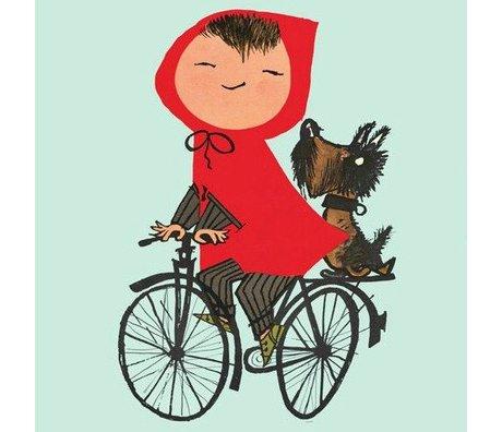 KEK Amsterdam Kinderbehang Riding my Bike green multicolour vliespapier 243,5x280cm