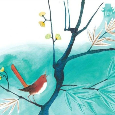 KEK Amsterdam Kinderbehang Singing Bird multicolour vliespapier 292,2x280cm