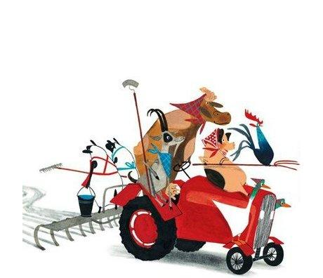 KEK Amsterdam Children's wallpaper Tractor Race multicolour non-woven paper 389.6x280cm