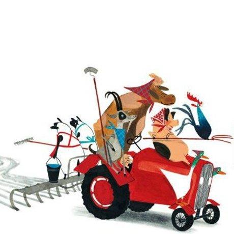 KEK Amsterdam Kinderbehang Tractor Race multicolour vliespapier 389,6x280cm