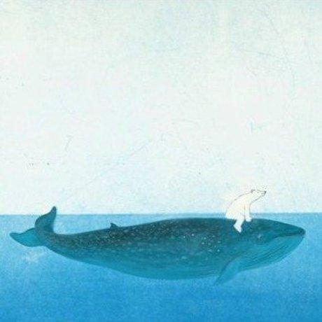 KEK Amsterdam Children's wallpaper Riding the Whale multicolour non-woven paper 389.6x280cm