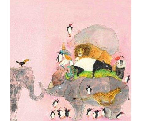 KEK Amsterdam Children's wallpaper Jumping Pinguins multicolour non-woven paper 243.5x280cm