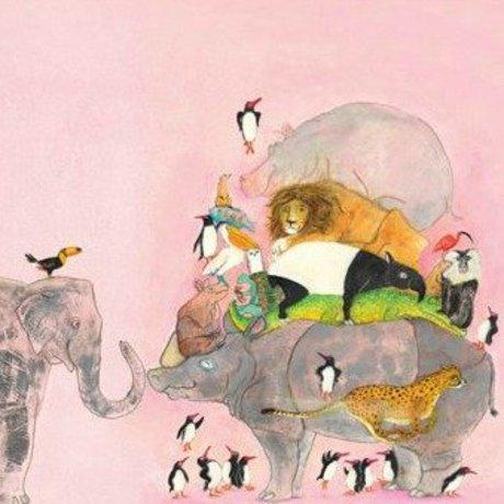 KEK Amsterdam Kinderbehang Jumping Pinguins multicolour vliespapier 243,5x280cm