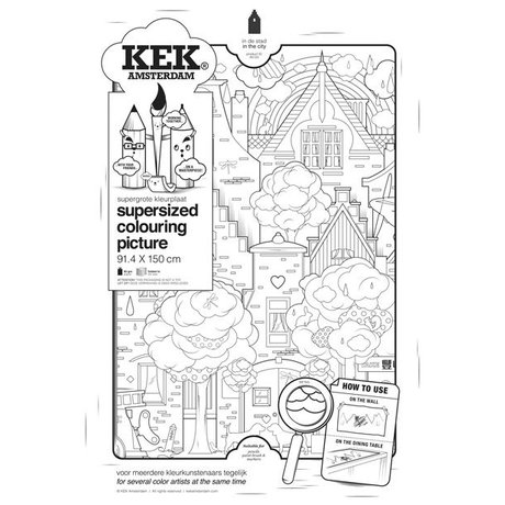 KEK Amsterdam XXL Coloring paper 91x150cm black and white, In town