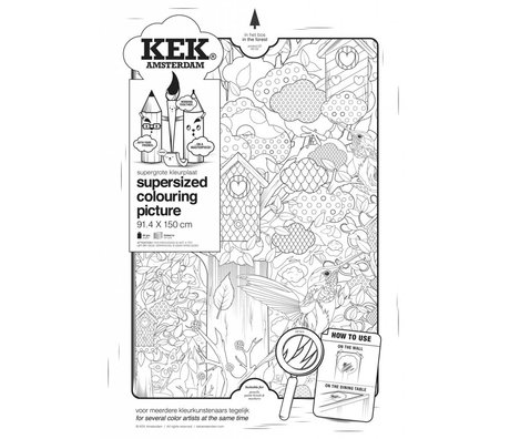 KEK Amsterdam XXL Coloring paper 91x150cm black and white, In the woods