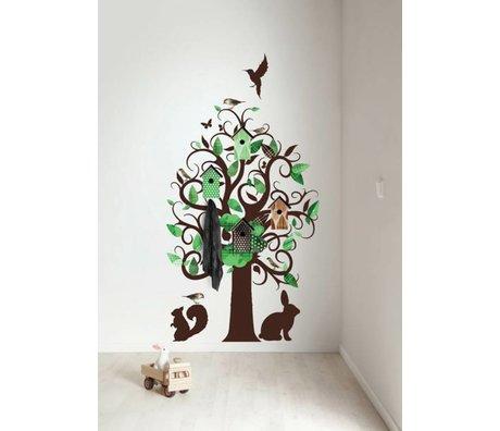 KEK Amsterdam Wall Sticker / coat rack green 95x150cm Birdhouse Tree wall film